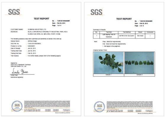 sunwing artificial plants SGS