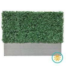 UV-resistant Artificial Boxwood Wall with gray color Planter