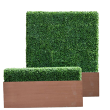 artificial boxwood hedge in planter