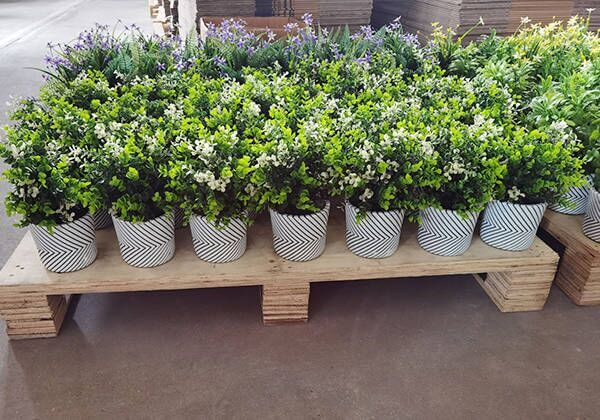 small artificial potted plants
