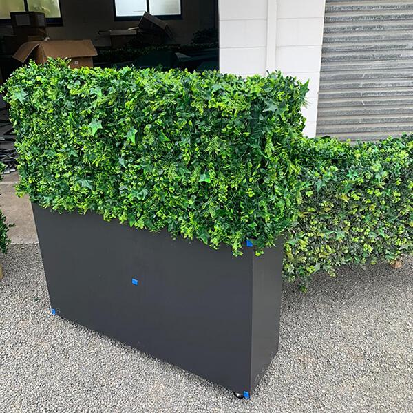 artificial hedge in planter box